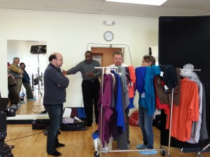 Studio with costume rack and cameras