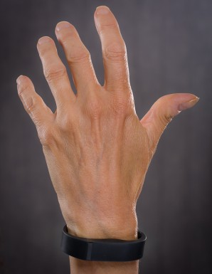 Hand with a Fitbit Flex around the wrist