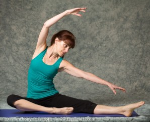 Photo of Gail stretching